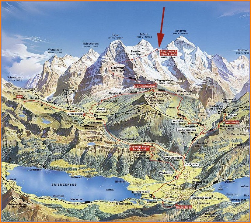 Jungfrau Hiking Trail Map