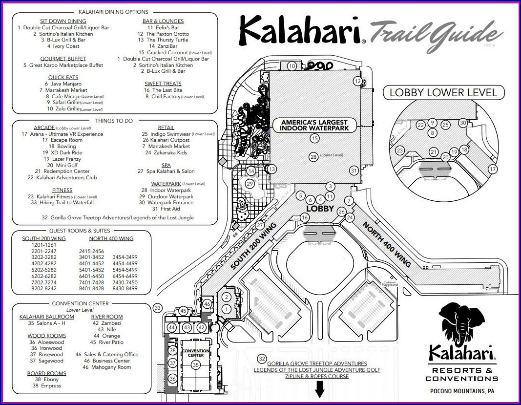 Kalahari Wisconsin Dells Room Map