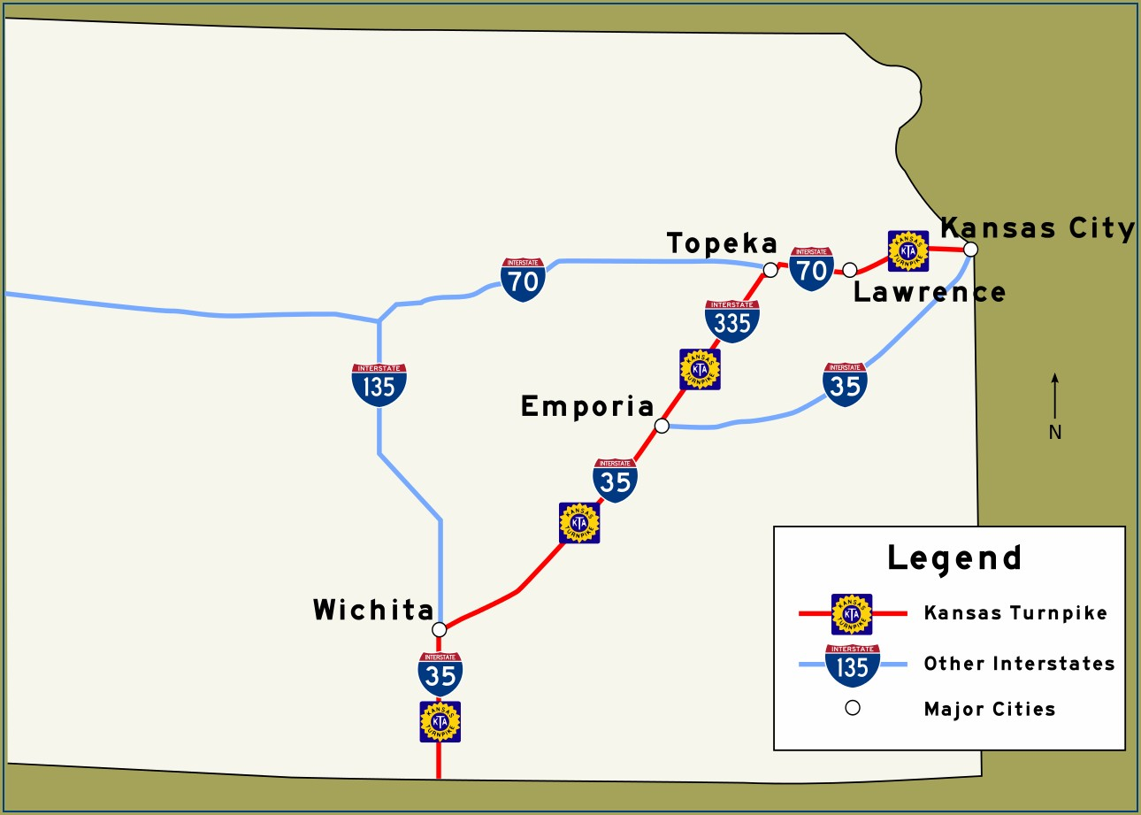 Kansas Turnpike Mile Marker Map