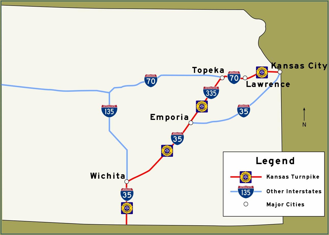 Kansas Turnpike Mile Marker Map