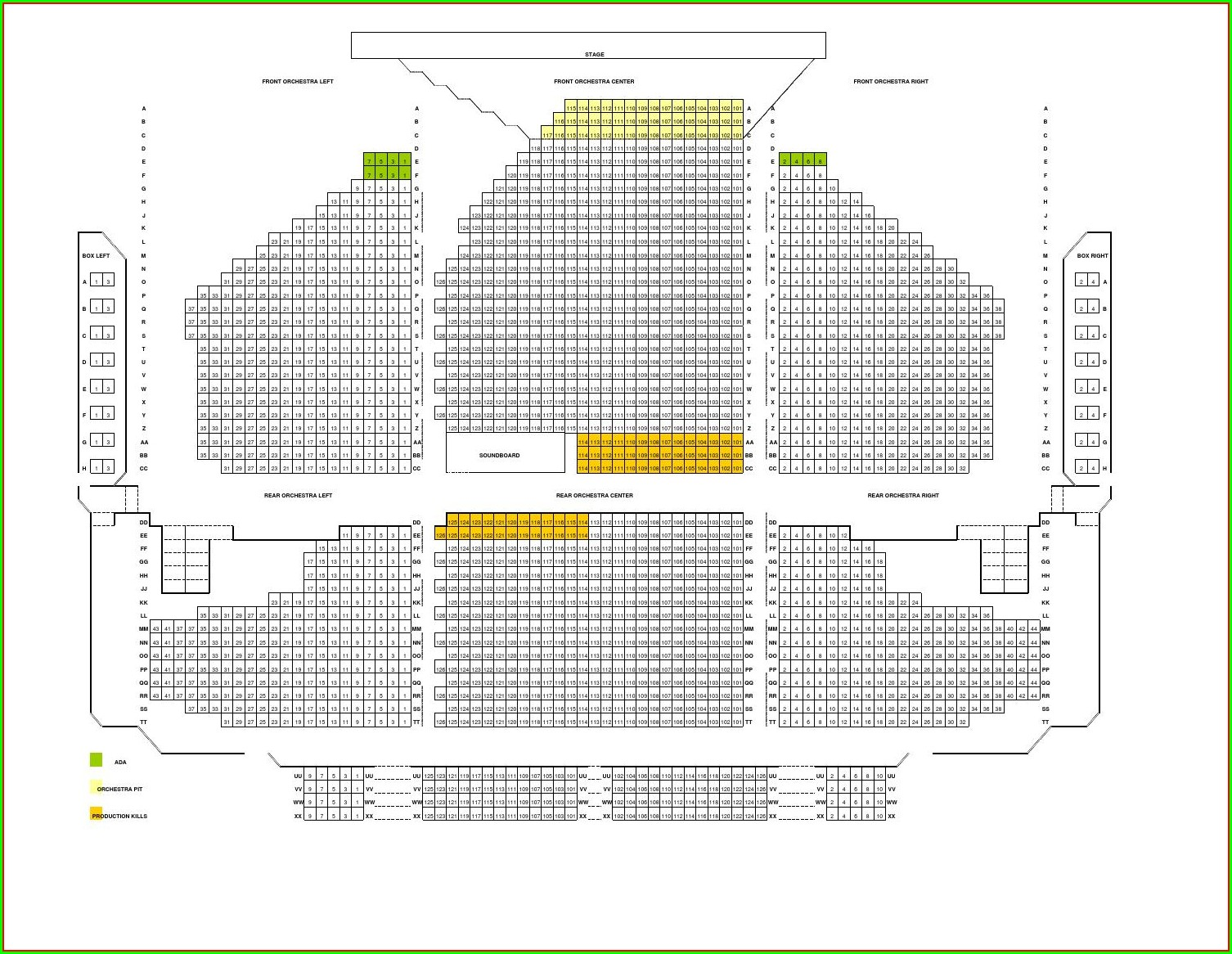 Keller Auditorium Seating Map