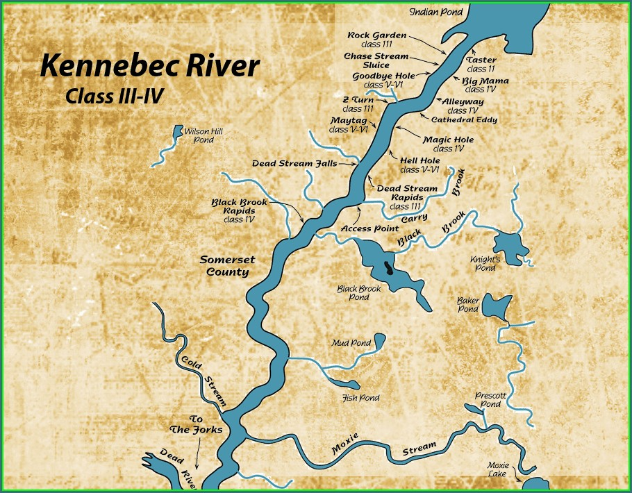 Kennebec River Rapids Map