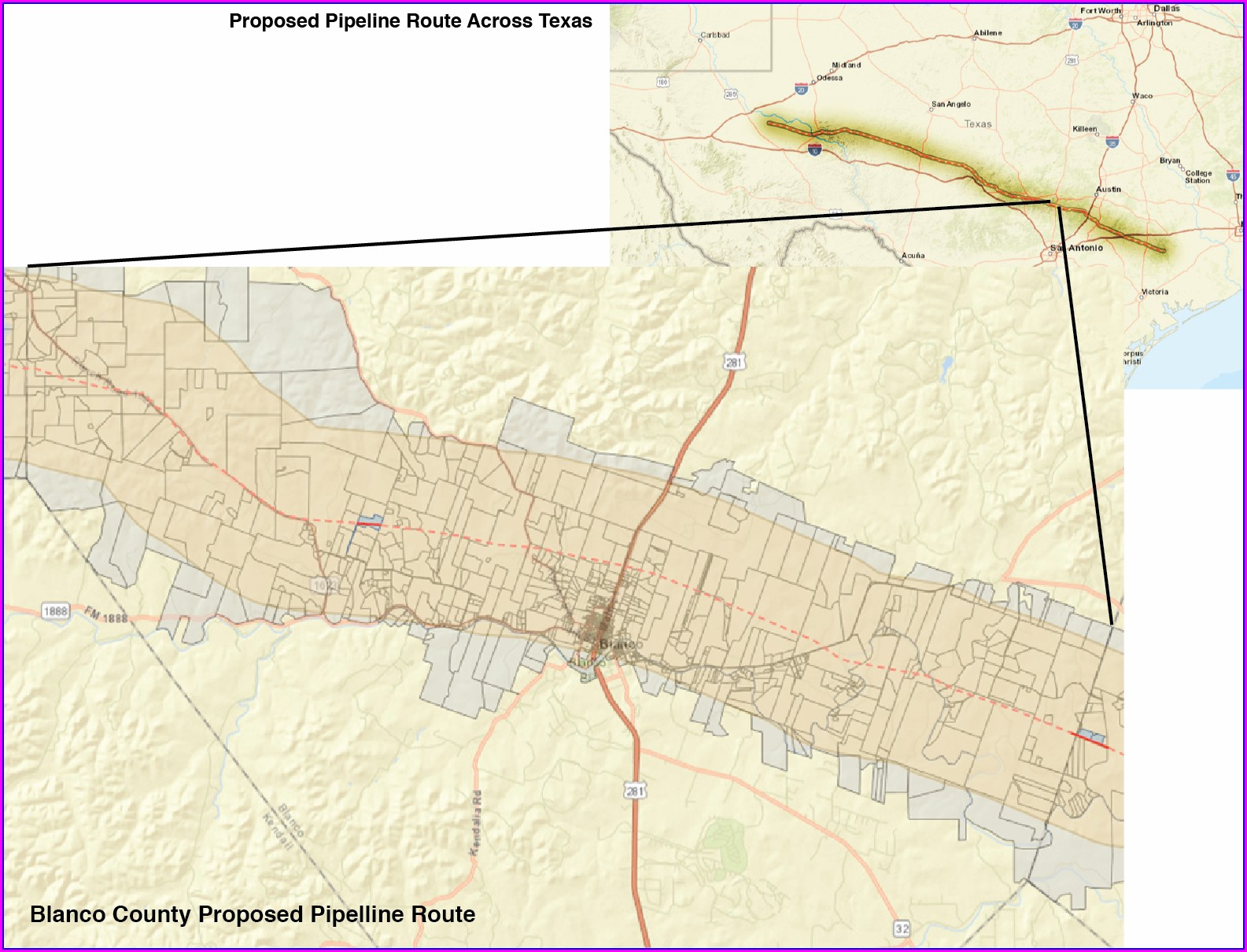 Kinder Morgan Hill Country Pipeline Map