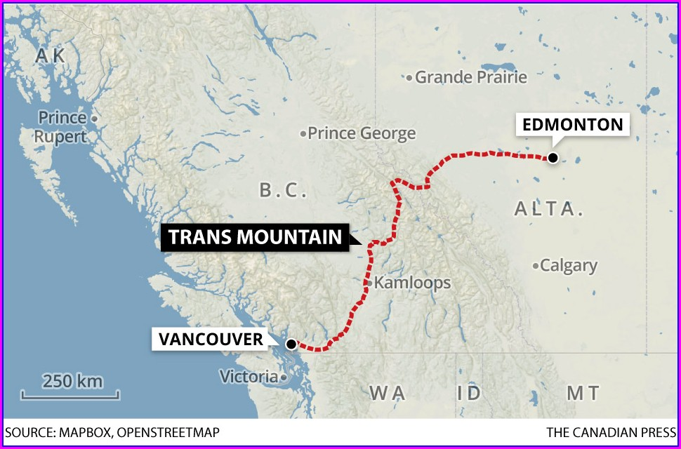 Kinder Morgan Pipeline Expansion Map Burnaby