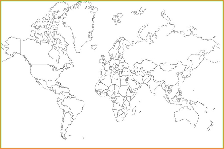 Labeled World Map Black And White Printable