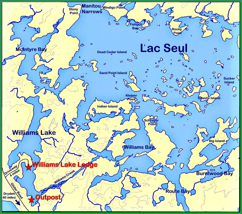 Lac Seul Fishing Resorts Map