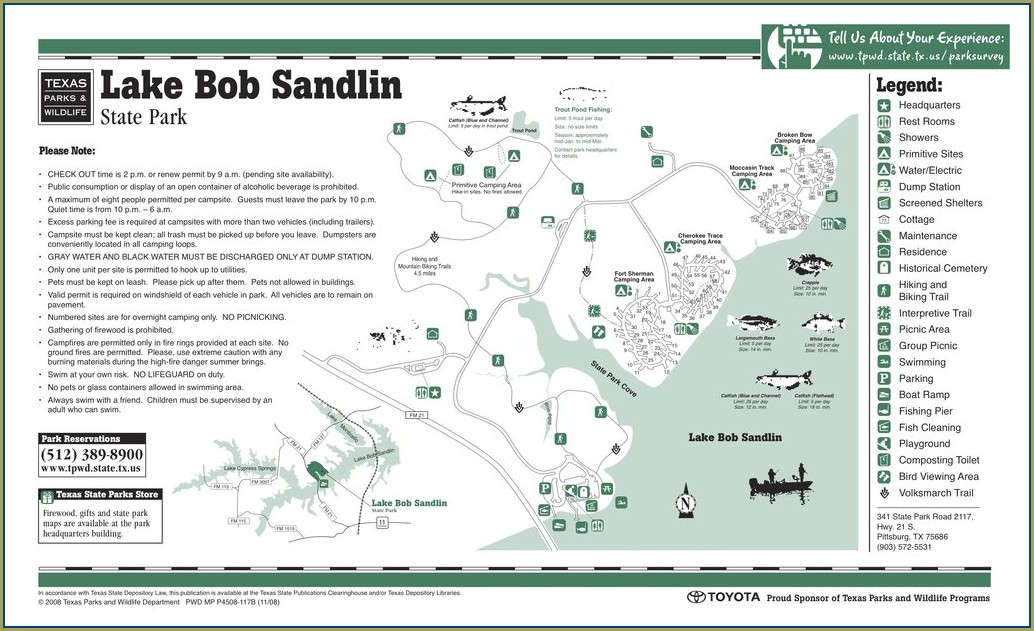 Lake Bob Sandlin State Park Map