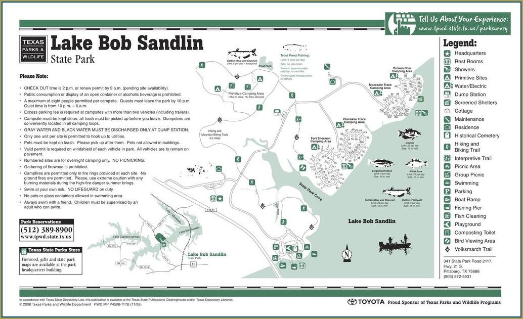 Lake Bob Sandlin State Park Map