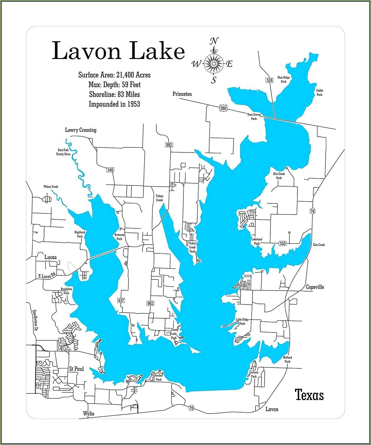 Lake Lavon Map Texas