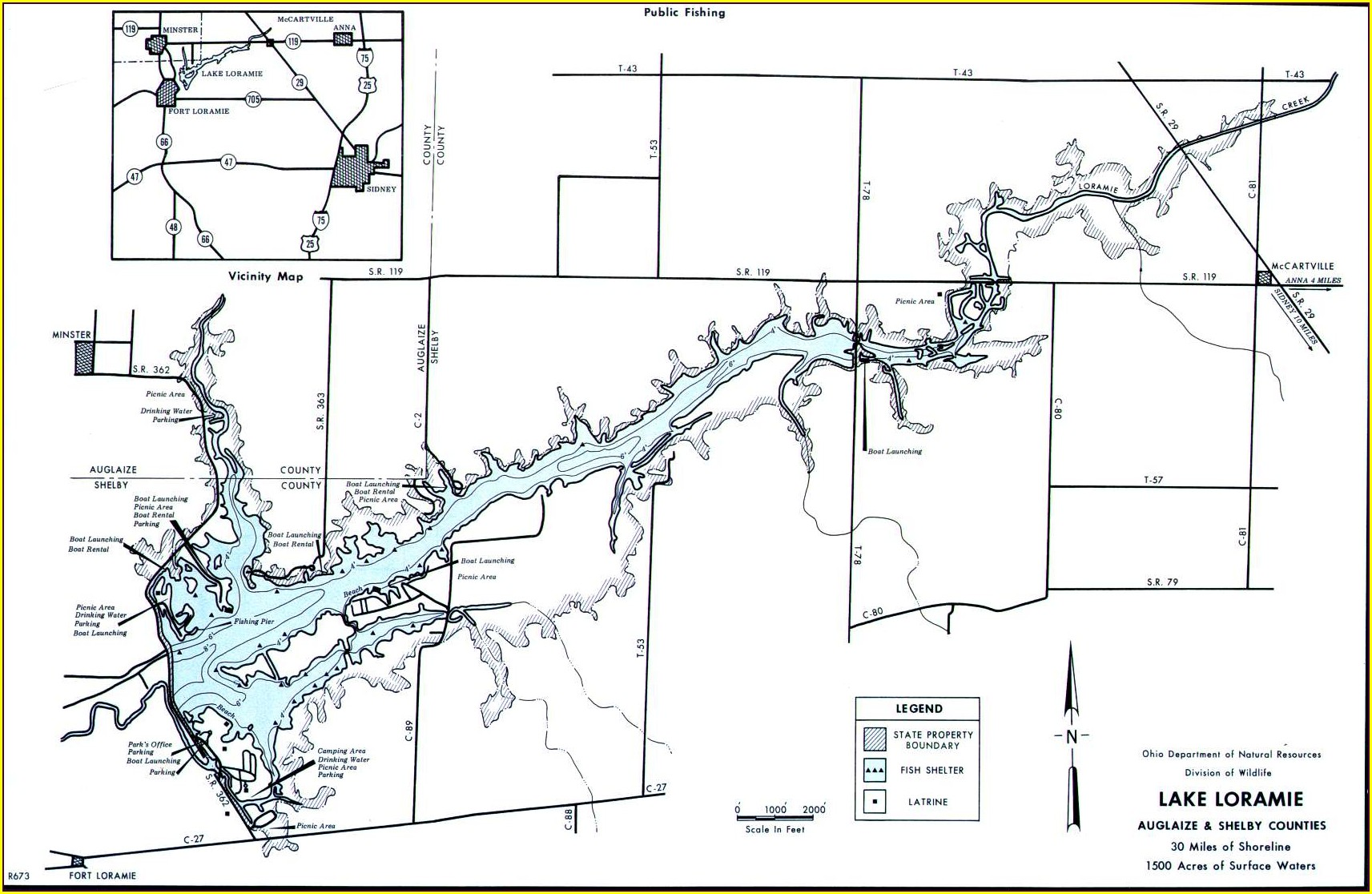 Lake Loramie Fishing Map