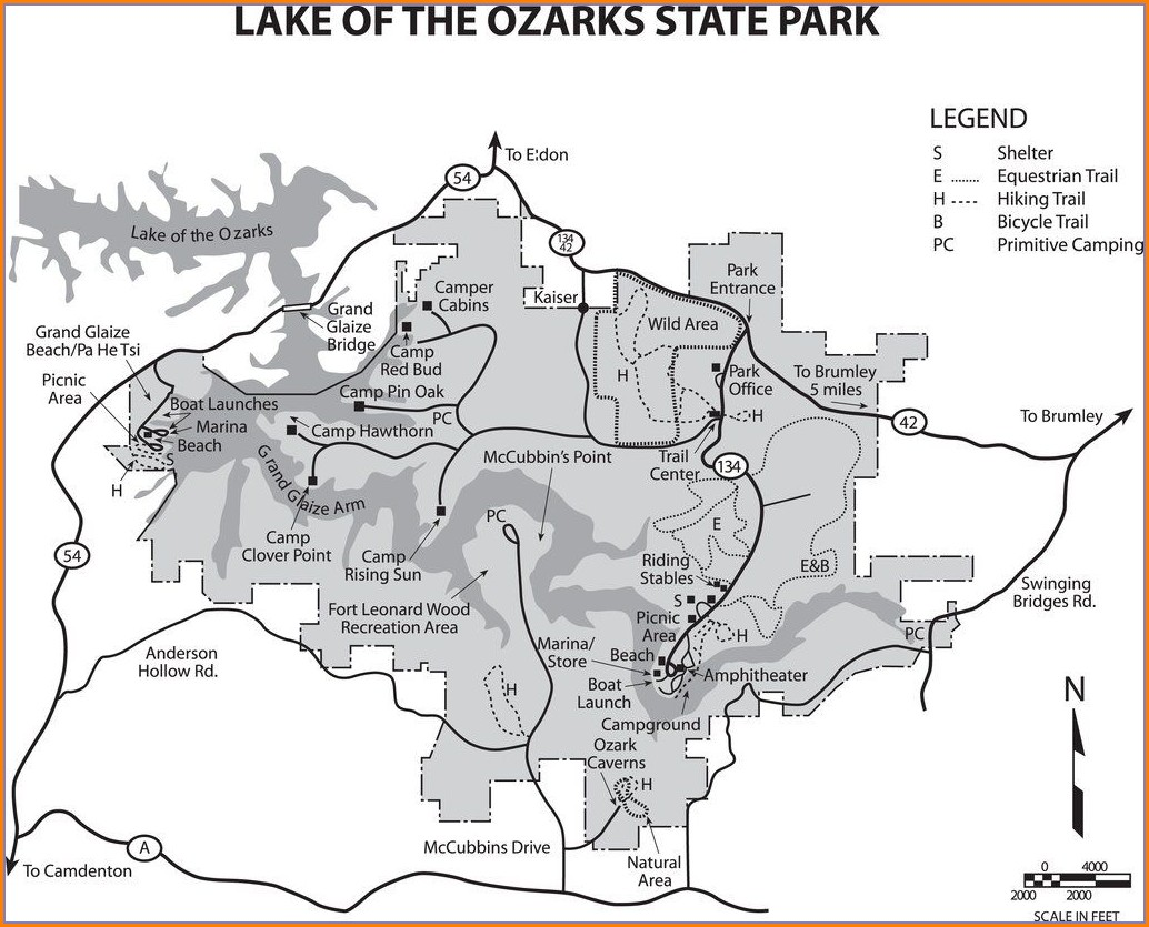 Lake Of The Ozarks State Park Campground Map