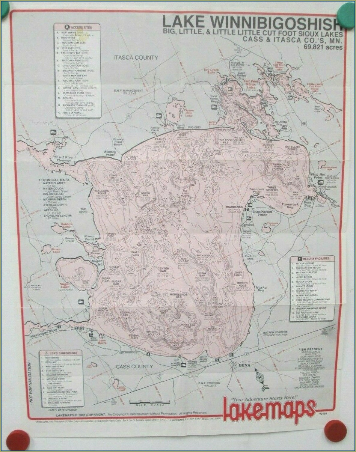 Lake Winnibigoshish Fishing Map