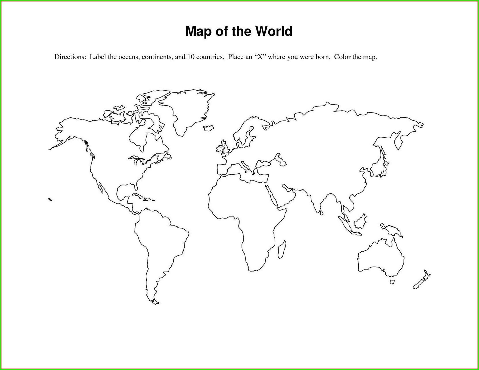 Large World Map Stencil Printable