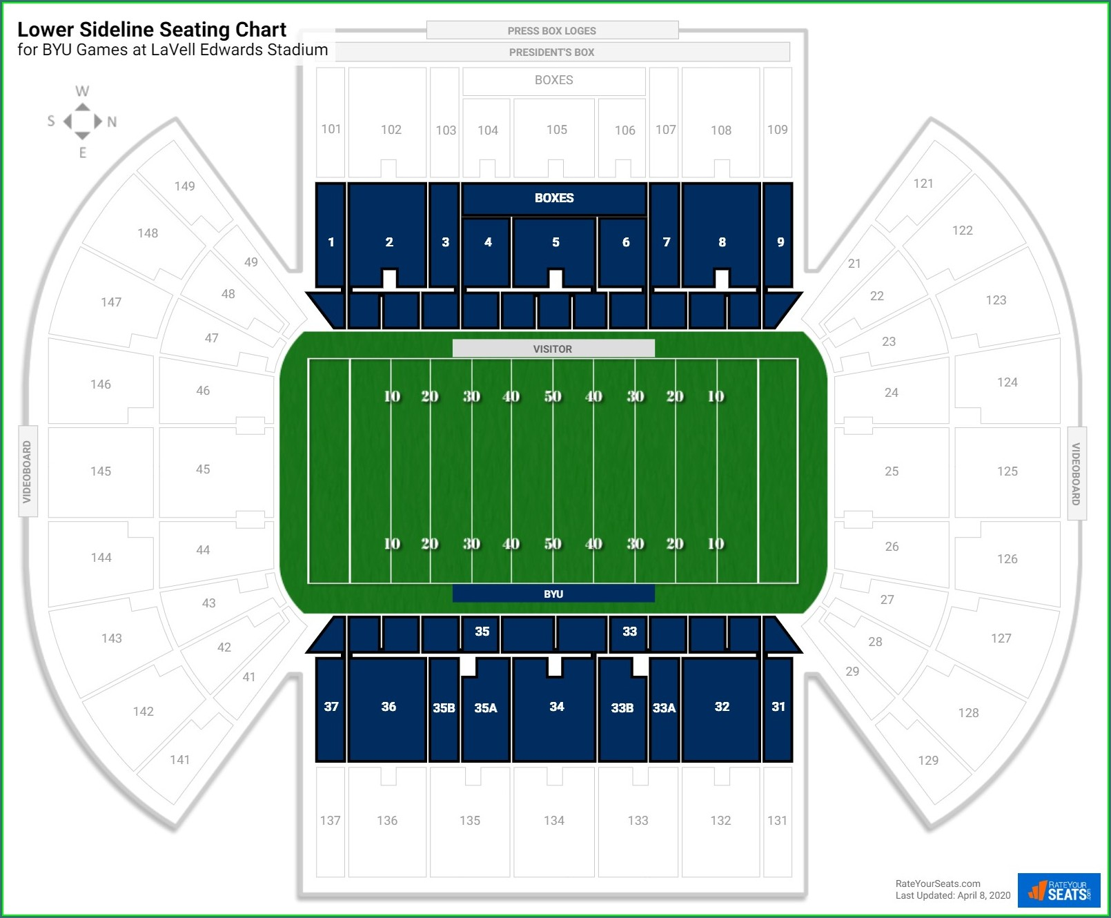 Lavell Edwards Stadium Seating Map