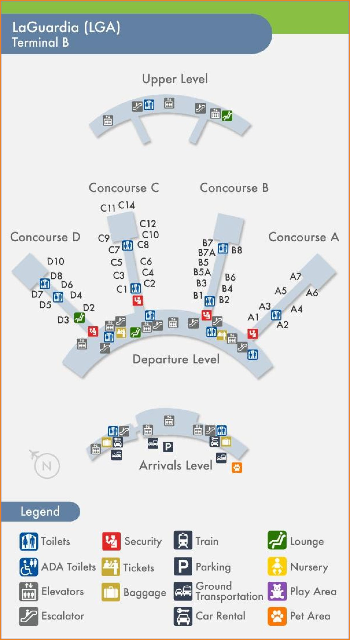 Lga Airport Terminal B Map