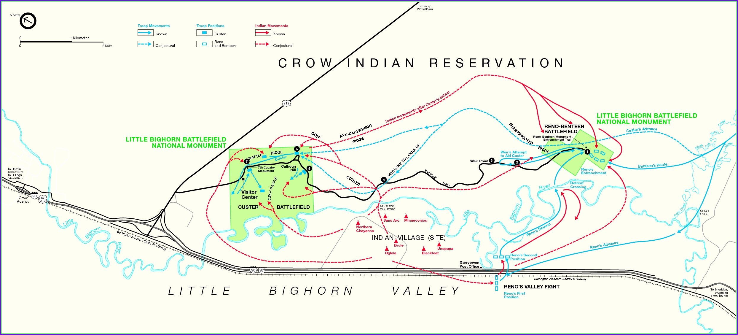 Little Bighorn Battlefield Map