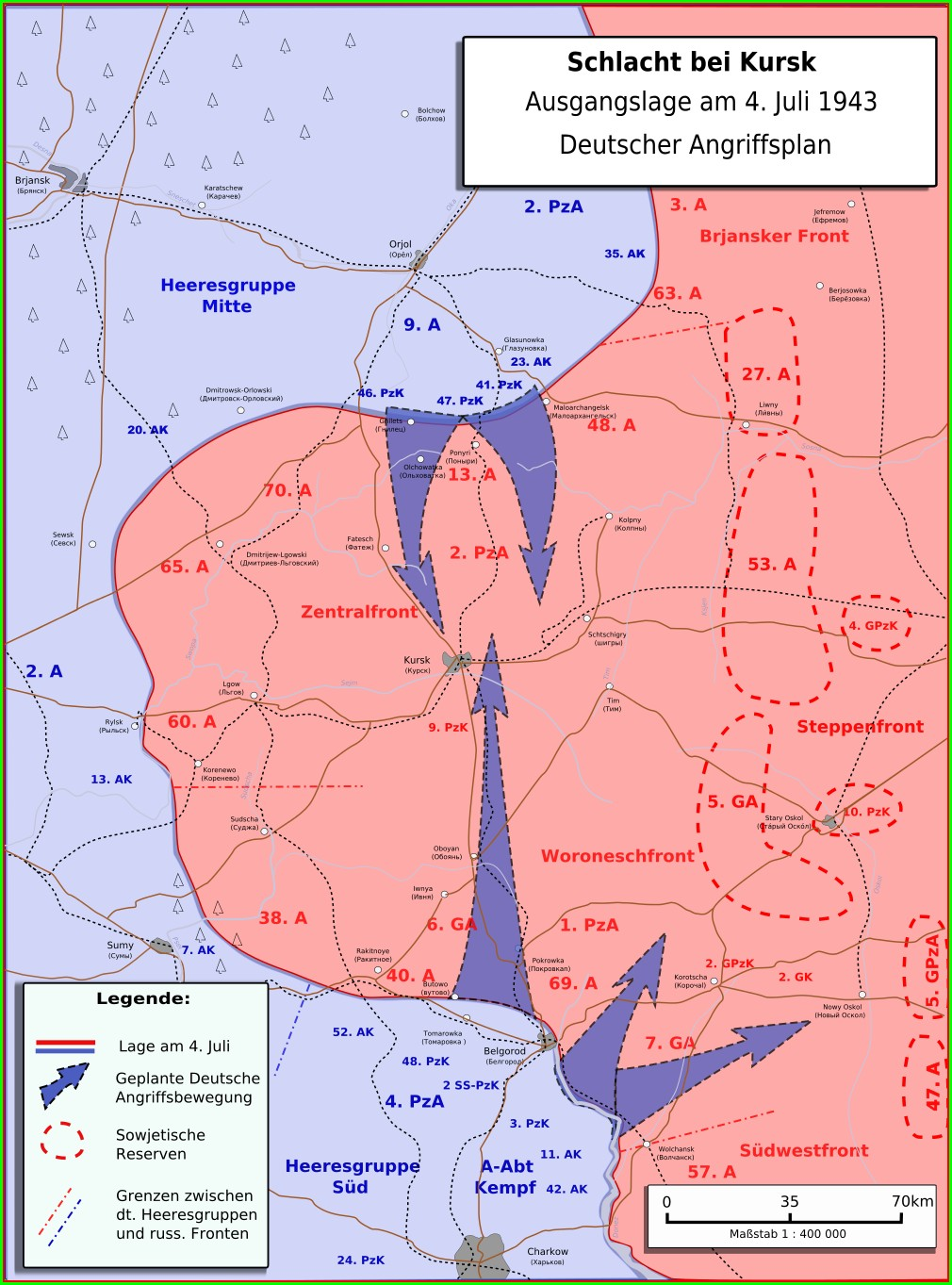 Location Battle Of Kursk Map