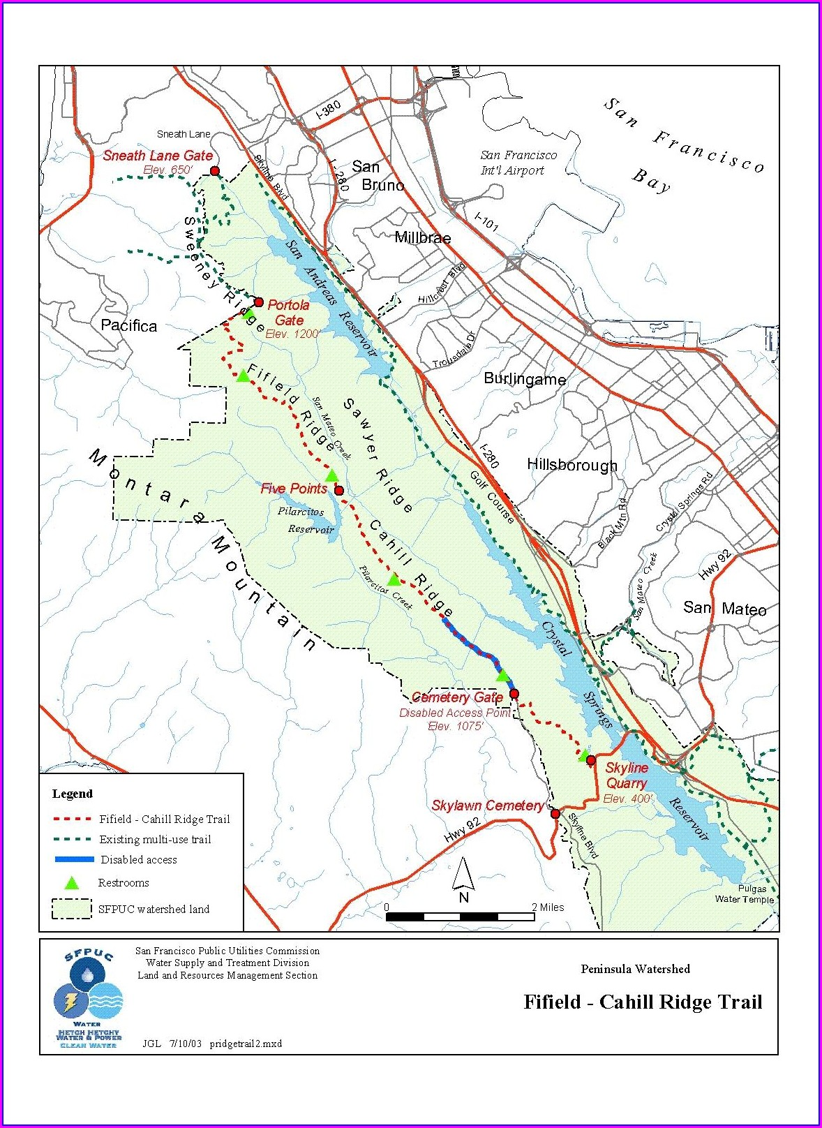 Los Gatos Creek Trail Map Mile Markers