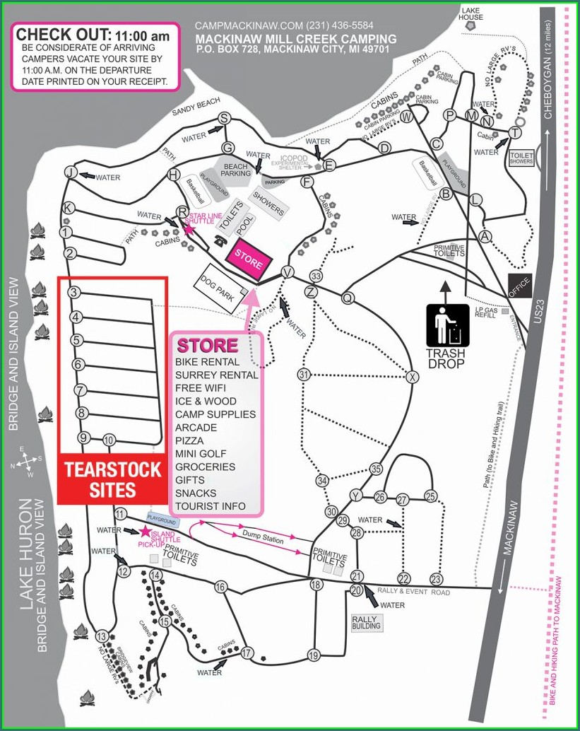 Mackinaw Mill Creek Campground Site Map