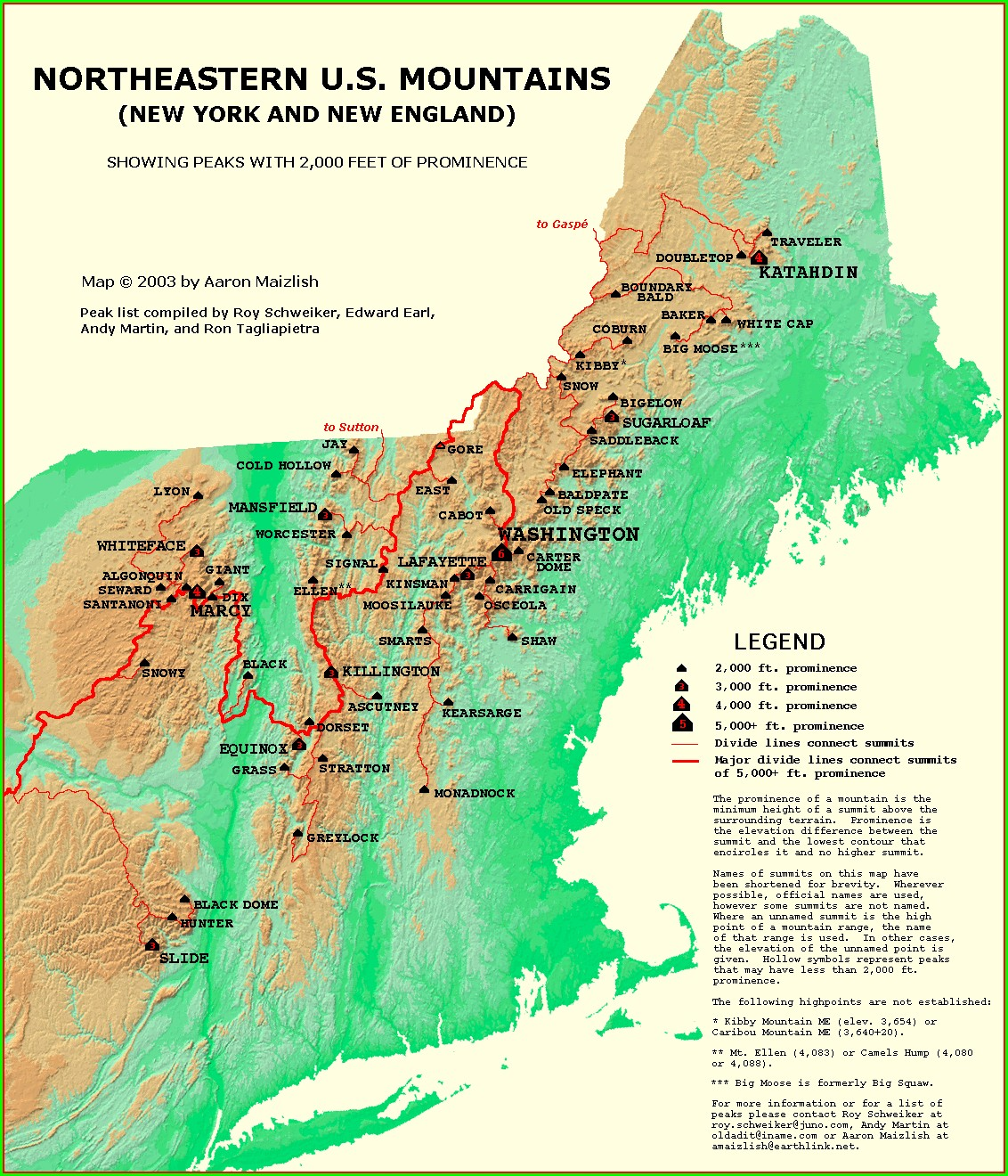 Maine 4000 Footers Map