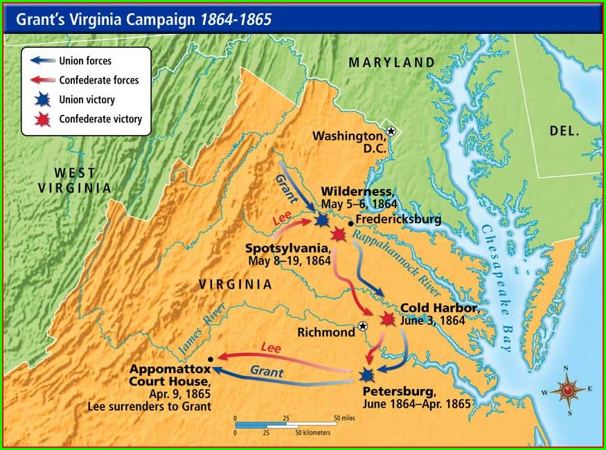 Major Civil War Battles In Virginia Map