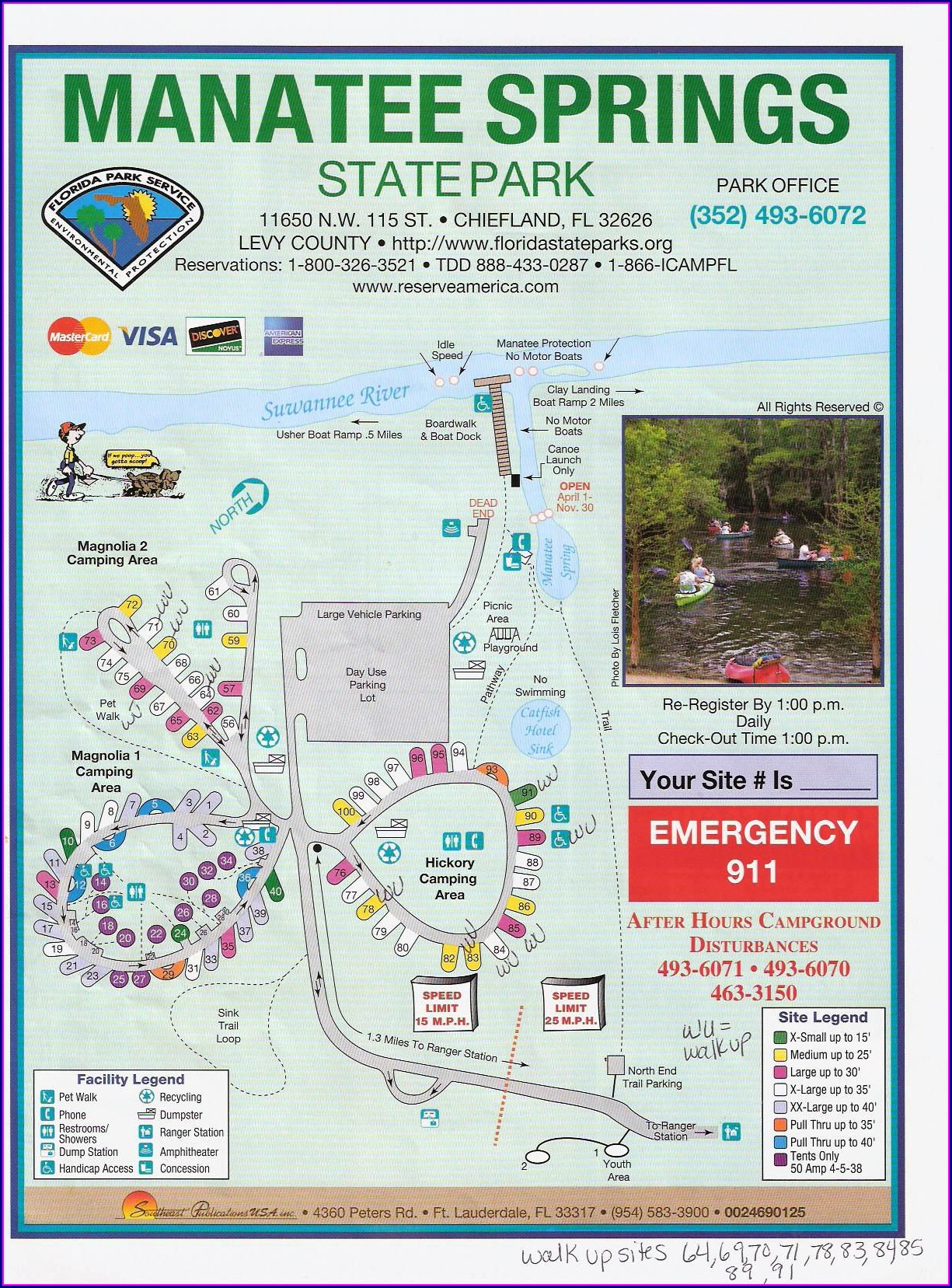 Manatee Springs State Park Map