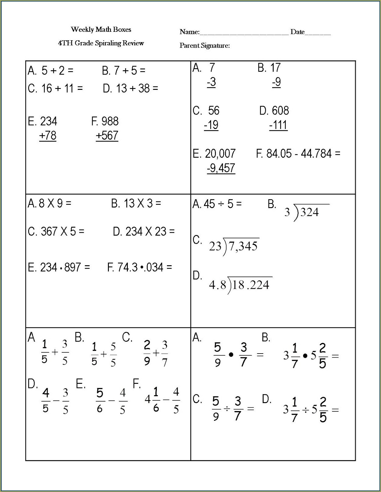 Map Math Practice Test 7th Grade