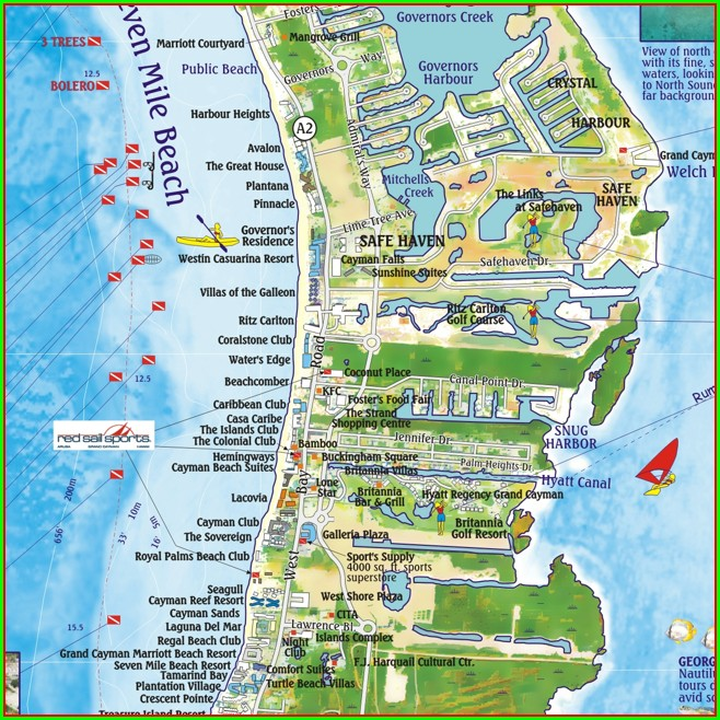 Map Of 7 Mile Beach Grand Cayman