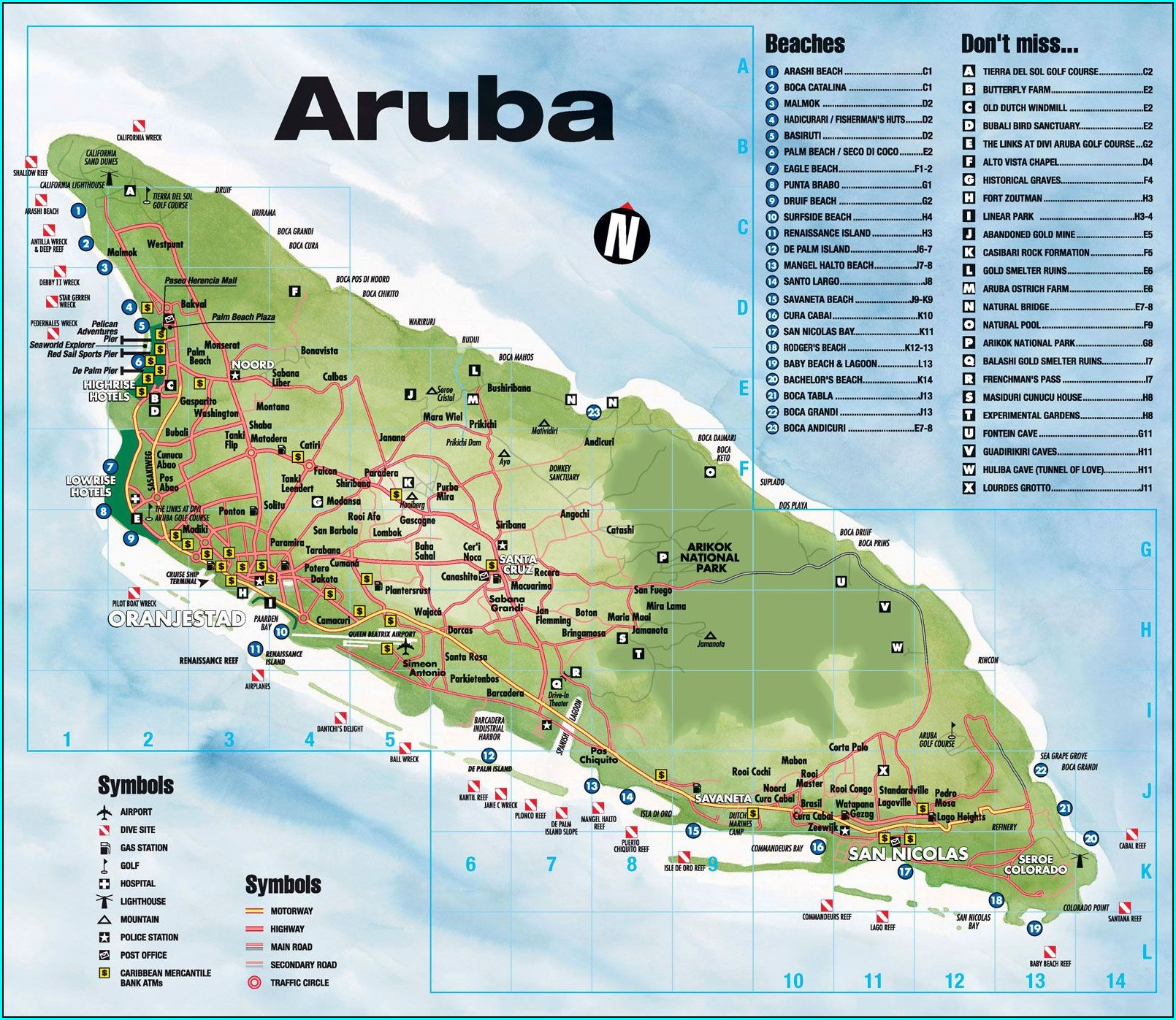 Map Of Aruba High Rise Hotels