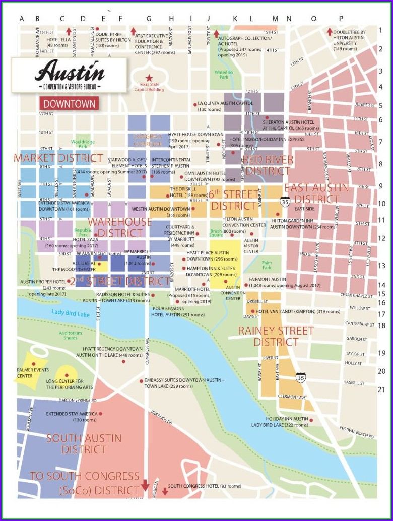 Map Of Austin Hotels Downtown
