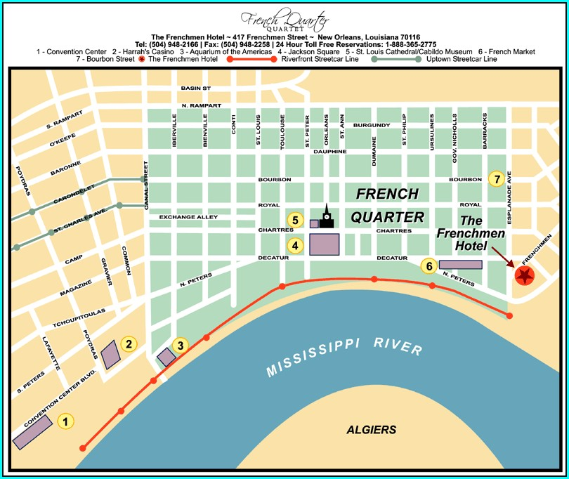 Map Of Bourbon Street New Orleans Hotels
