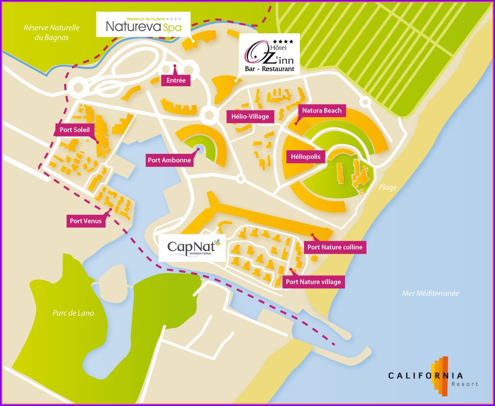 Map Of Cap D'agde Naturist Village