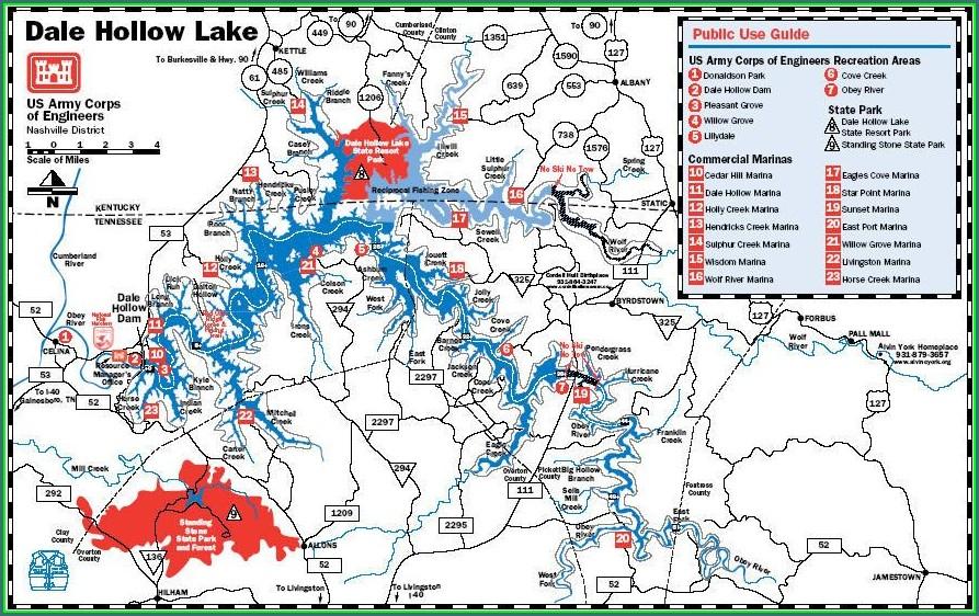 Map Of Dale Hollow Lake Marinas