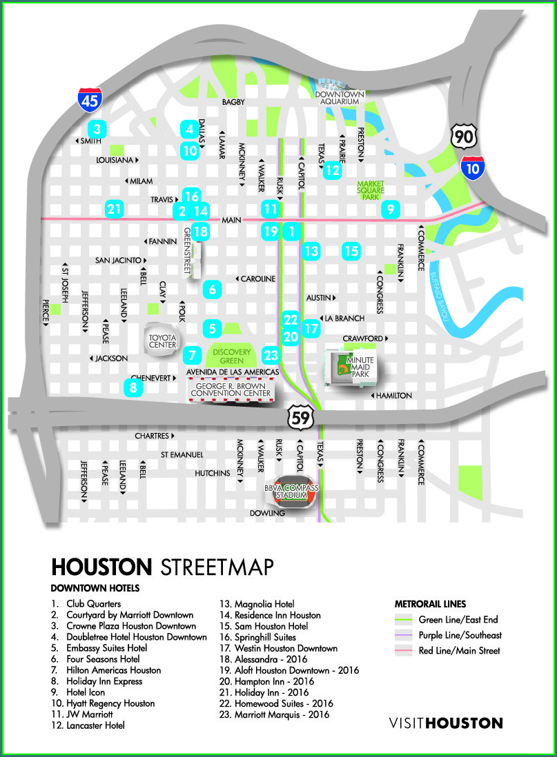 Map Of Downtown Houston Hotels