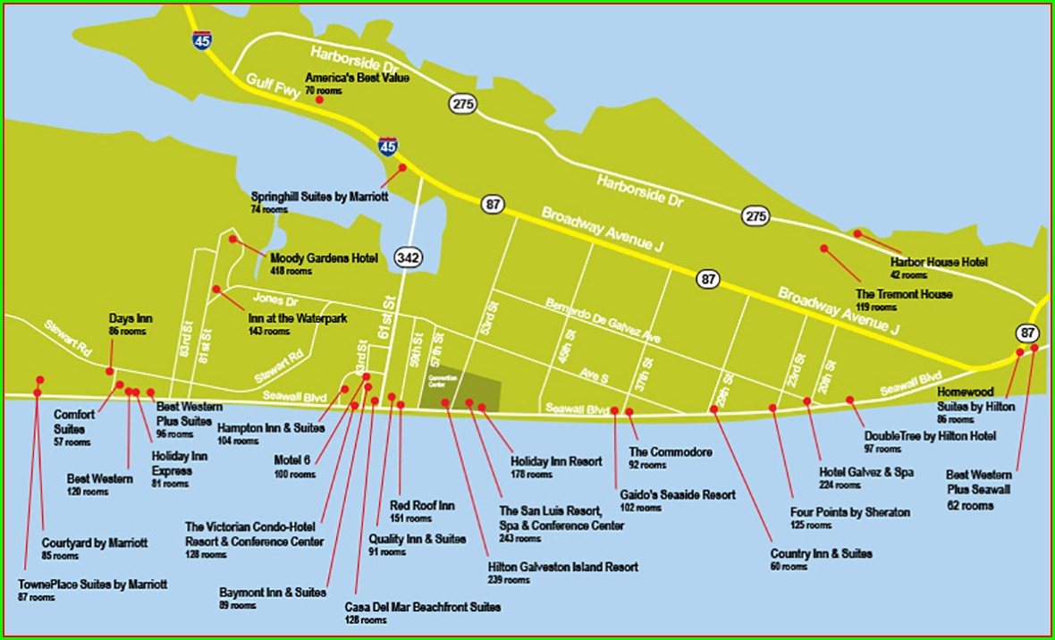 Map Of Galveston Hotels On The Seawall