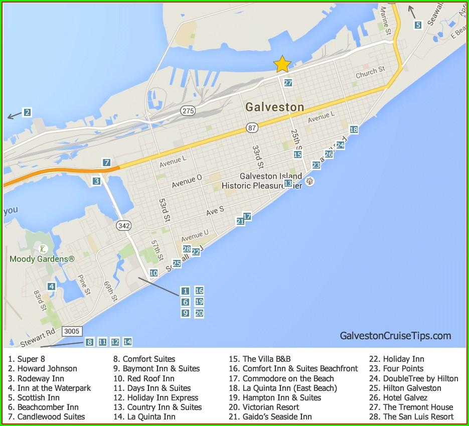 Map Of Galveston Hotels