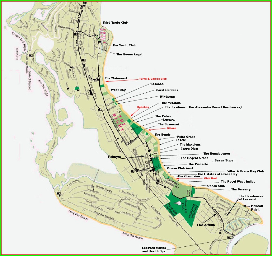 Map Of Grace Bay Hotels