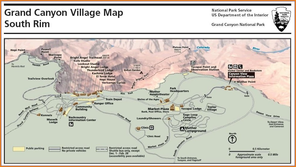 Map Of Grand Canyon Village Hotels