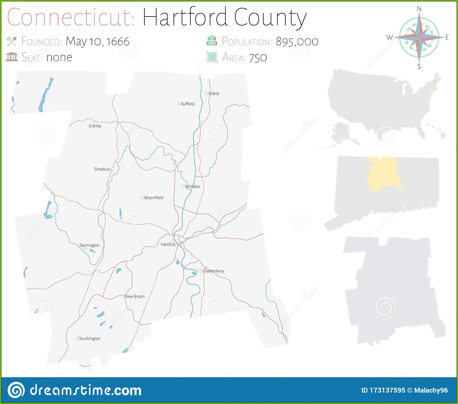 Map Of Hartford County Connecticut