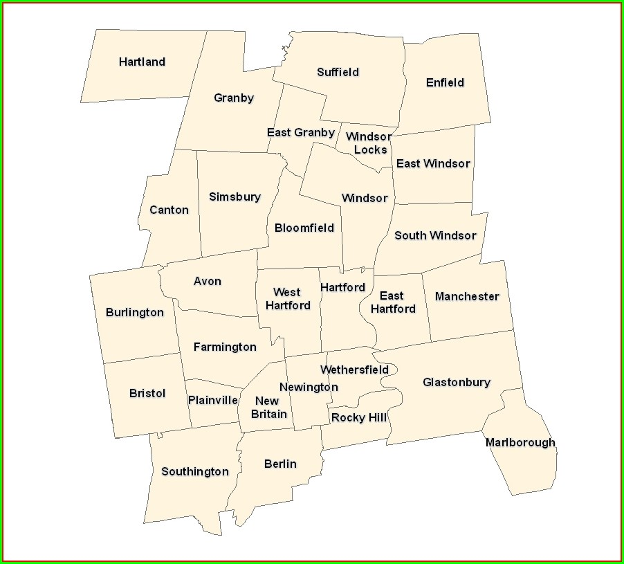 Map Of Hartford County Ct Towns