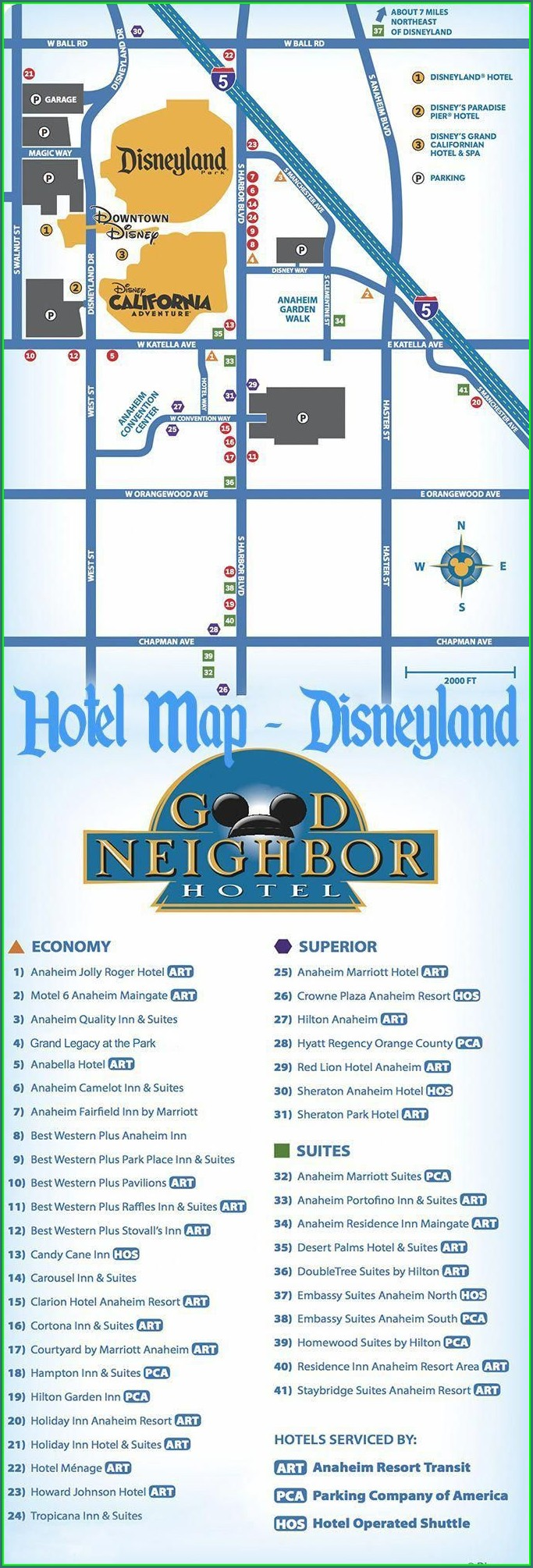 Map Of Hotels Near Disneyland Anaheim