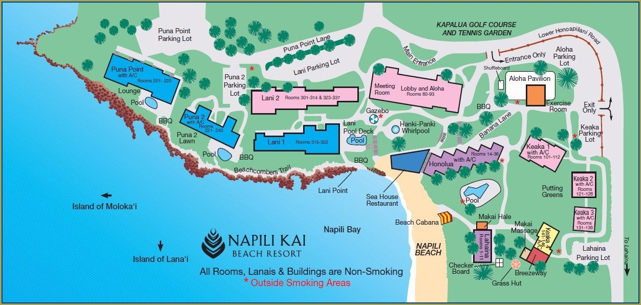 Map Of Hotels On Kaanapali Beach Maui