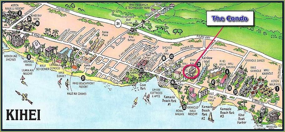 Map Of Kihei Condos