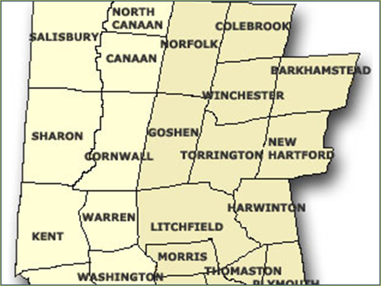 Map Of Litchfield County Ct Towns