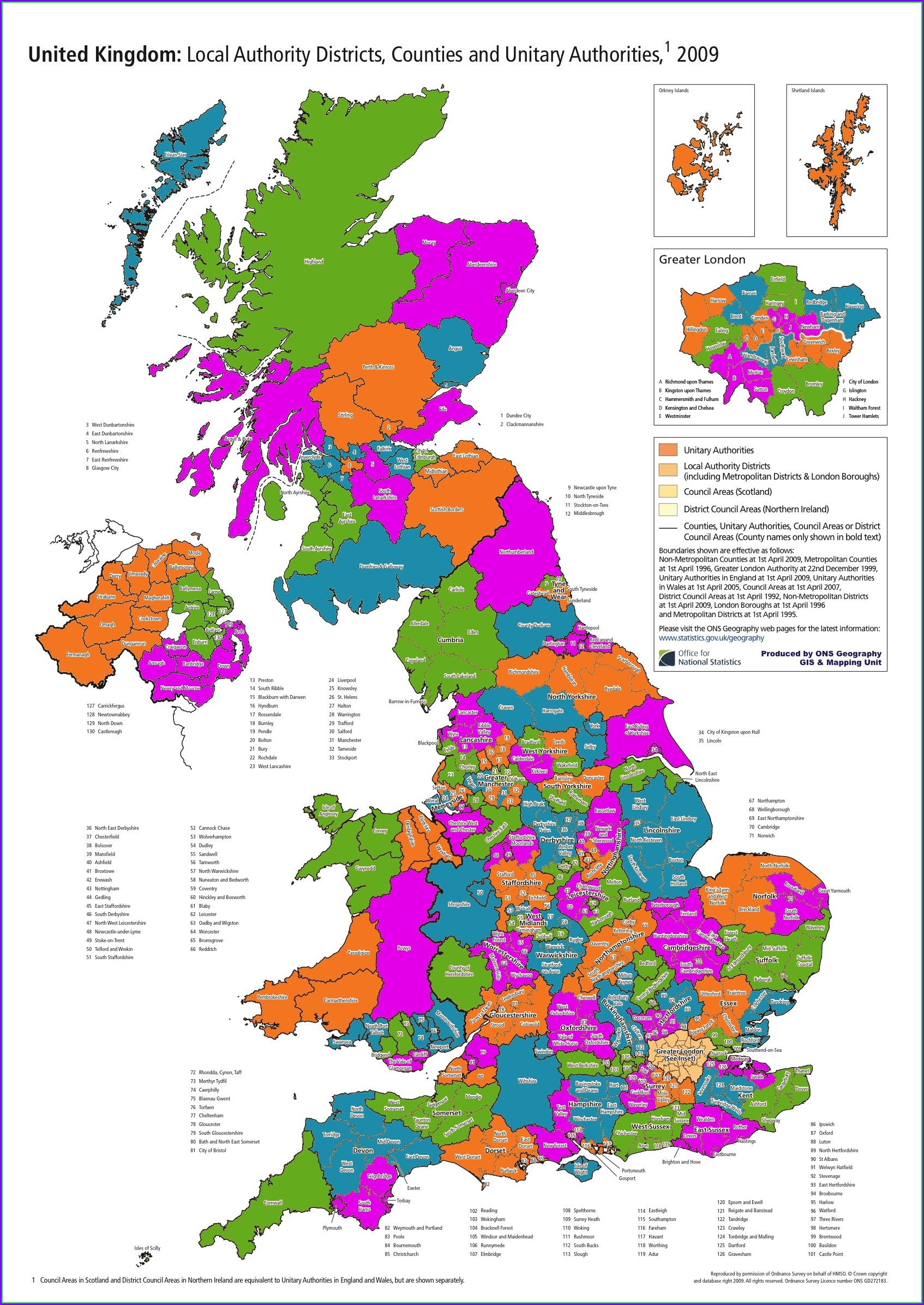 Map Of Local Authority Areas
