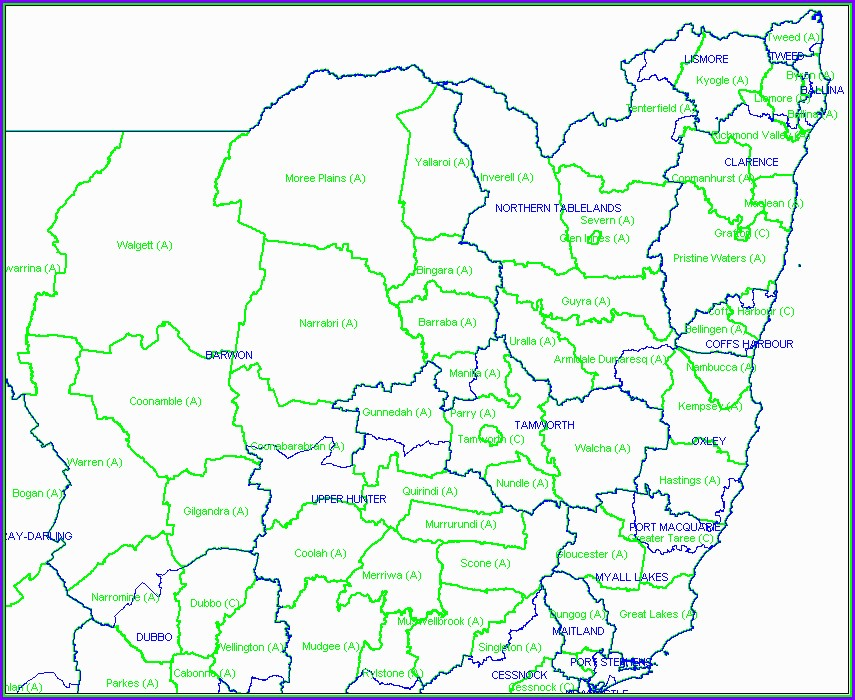 Map Of Local Government Areas Nsw