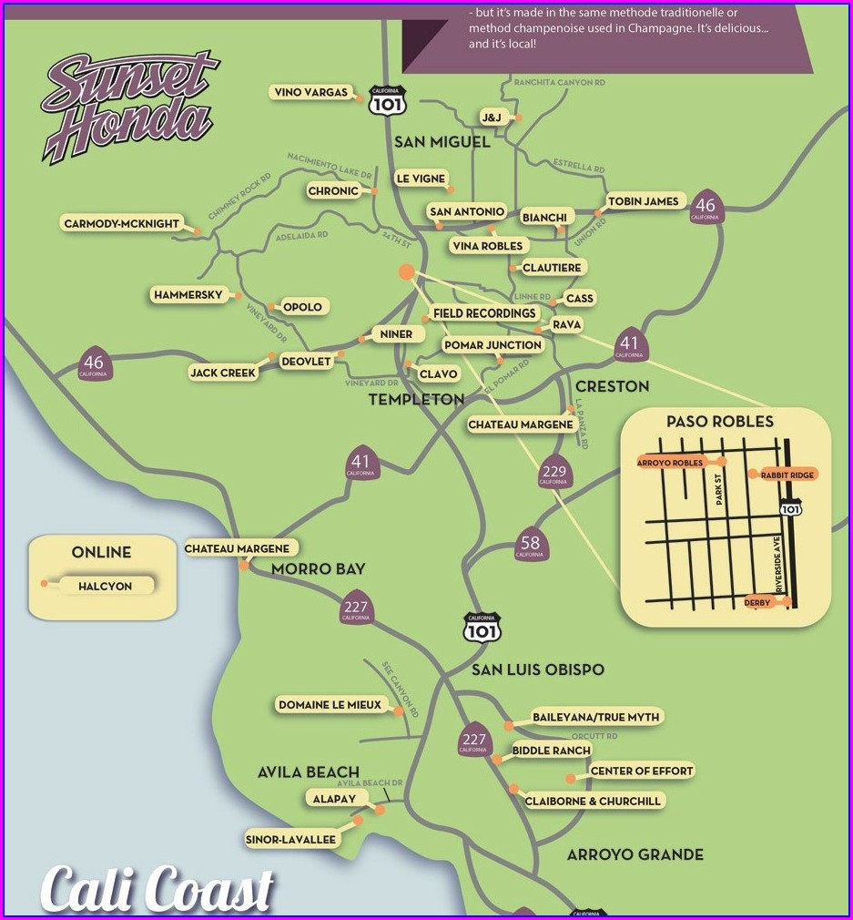 Map Of Los Olivos Wineries