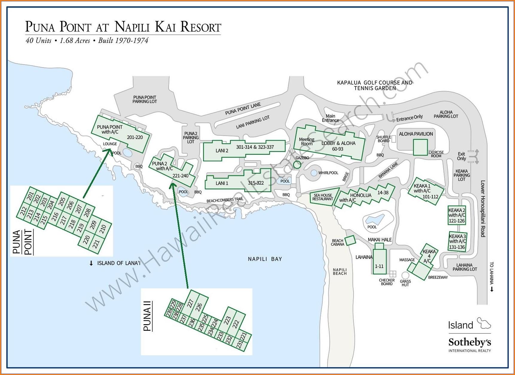 Map Of Napili Bay Condos