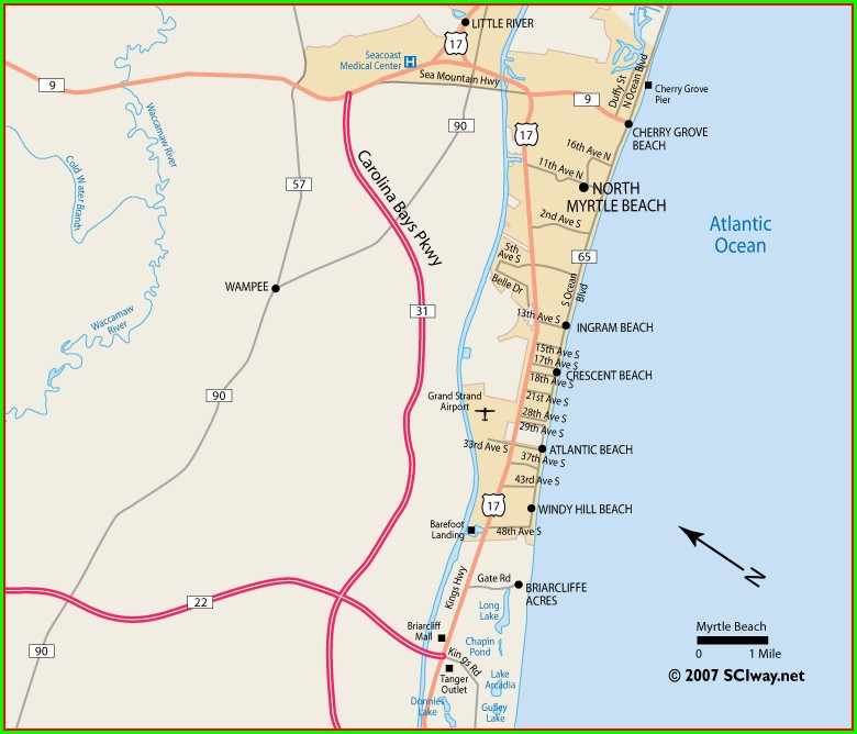 Map Of North Myrtle Beach Hotels