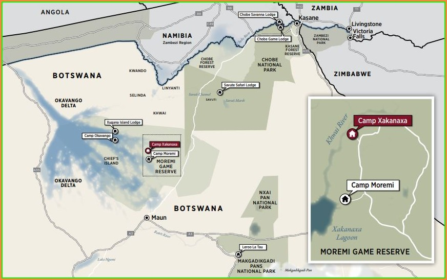 Map Of Okavango Delta Camps
